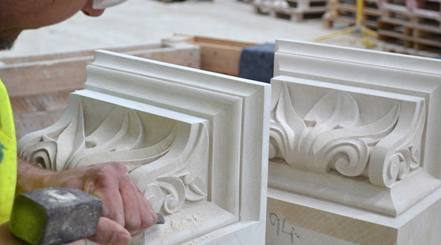 Handcrafted Portland limestone fireplaces