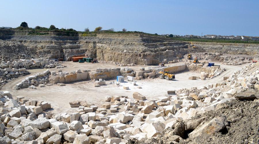 Portland limestone aggregate stock pile