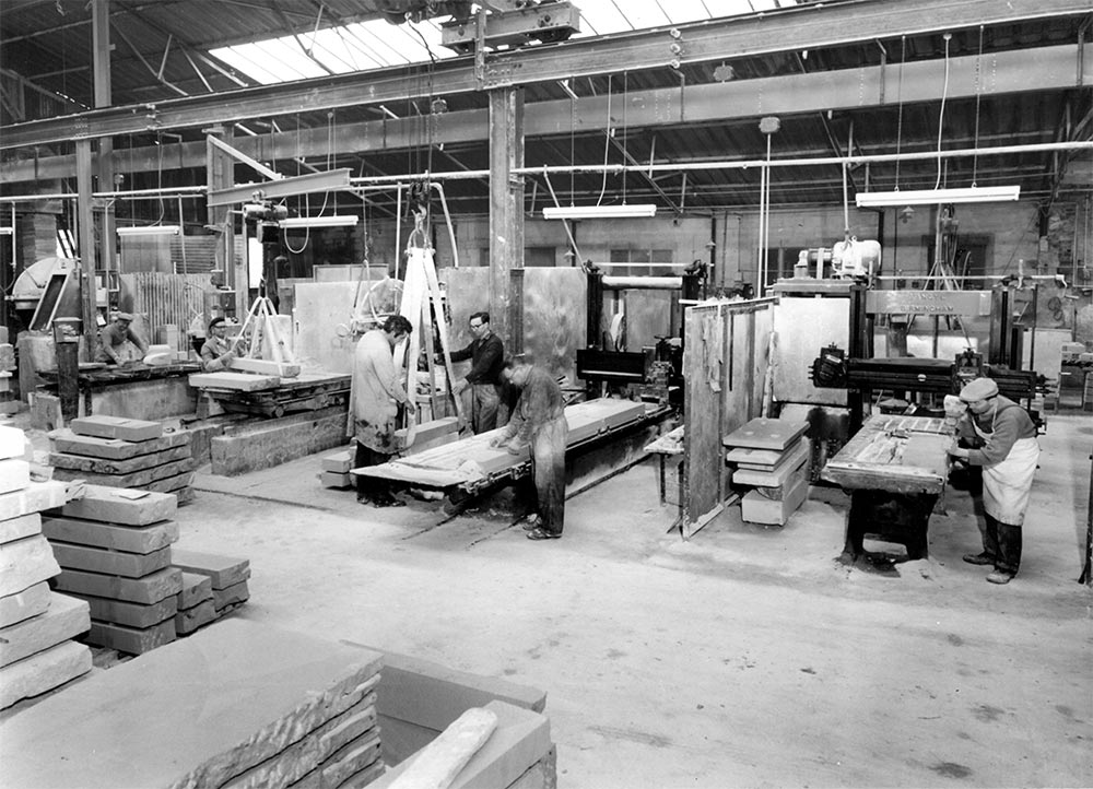 General photograph of Portland stone yard in the late 1970s
