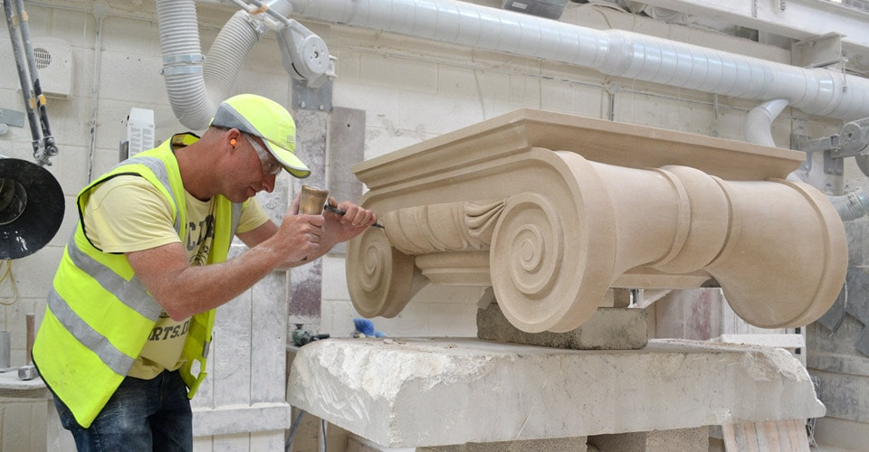 Classical natural Portland stone masonry and carving