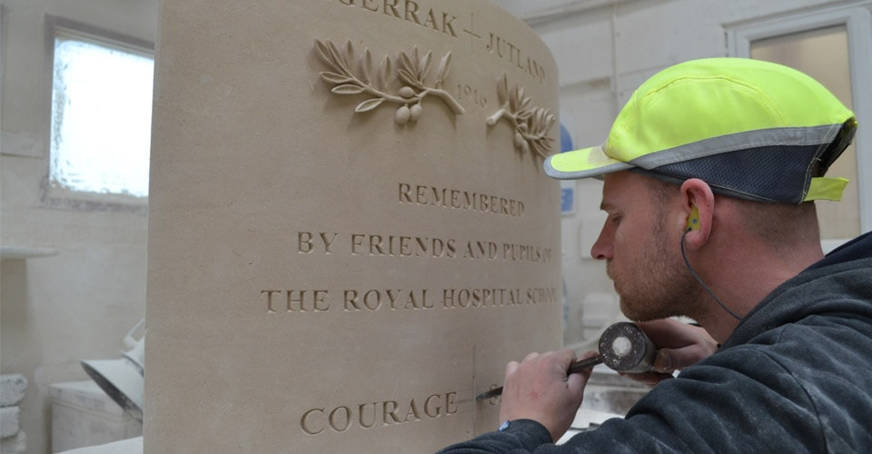 Memorial Portland stone letter cutting